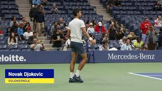 Novak Djokovic Warms Up for the 2018 US Open Men's Final