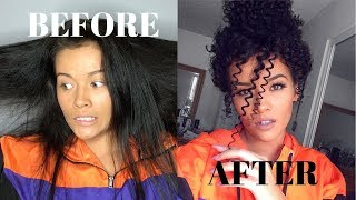 Heatless Straight to Curly Hair Tutorial   Straw Curls