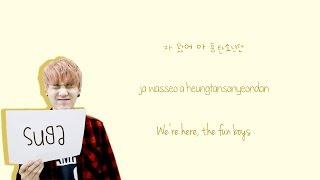 BTS - 흥탄소년단 (fun boys)  {Color coded lyrics Han|Rom|Eng}