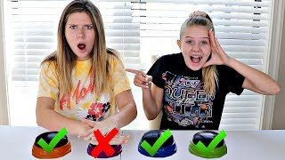 Don't Press The WRONG Button Slime Challenge    Taylor & Vanessa