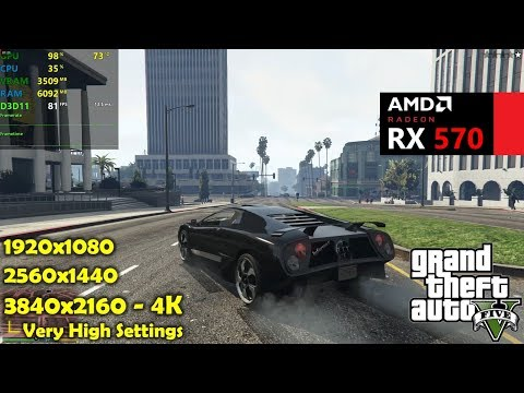 RX 570 | GTA 5 / V - 1080p 1440p & 4K - Very High Settings - zWORMz Gaming