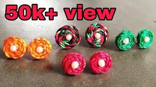 77d894c94 Diy Silk Thread Tops Earrings Making Handmade Jewellery Handcraft New  Design Earrings
