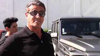 Sylvester Stallone Hanging Out At Cafe Roma