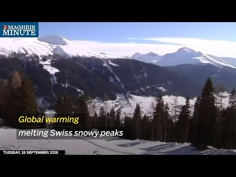 Global warming melting Swiss snowy peaks