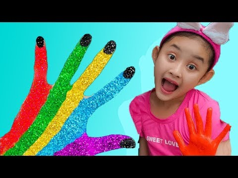 Learn Colors for Children! Mina Body Paint Finger Family Songs Nursery Rhymes | Mina ToysReview