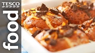 How to make chocolate orange bread and butter puddings
