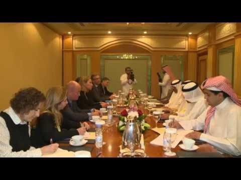 Images of Mogherini meeting with Abdul Latif BIN RASHID AL ZAYANI, Sec Gen of the GCC
