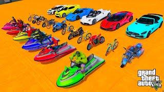 Superheroes race، Cars Bicycles Jet ski amazing stunts سبايدرمان باتمان قفزات وتحدي دراجات وسيارات