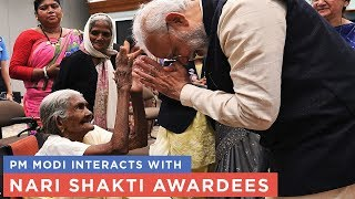 PM Modi interacts with Nari Shakti Awardees
