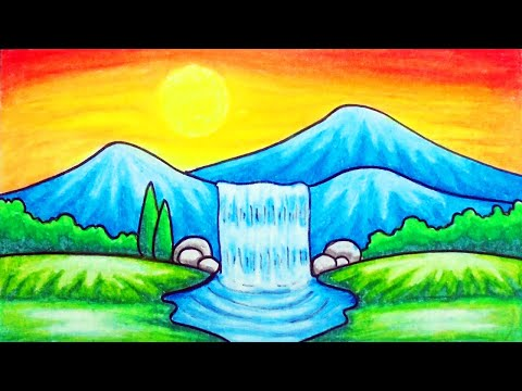 How to Draw Easy Scenery   Drawing Waterfall at Sunset Scenery Step by Step with Oil Pastels
