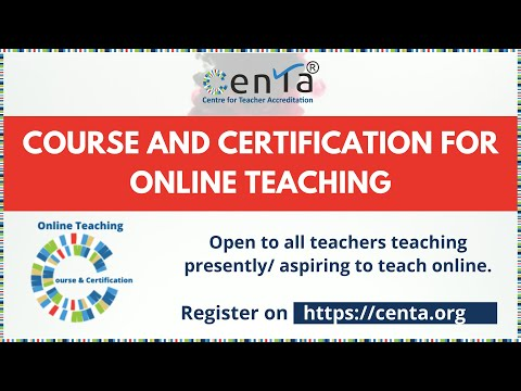 CENTA Course-cum-Certification in Online Teaching - YouTube