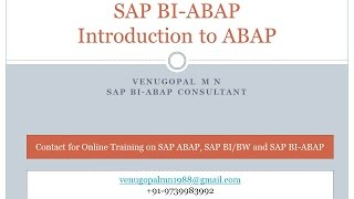 SAP BI-ABAP: Introduction to ABAP for BI/BW Consultant