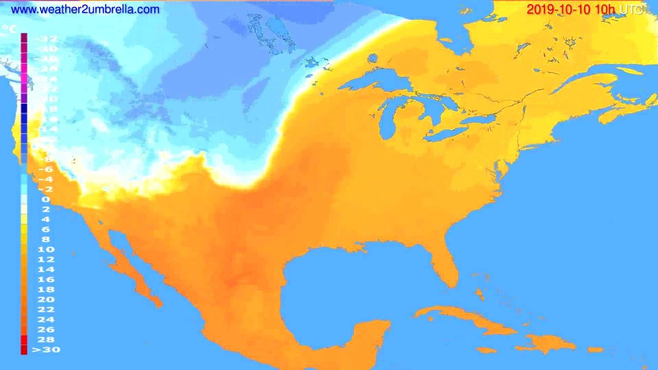 Temperature forecast USA & Canada // modelrun: 12h UTC 2019-10-07