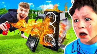 DESTROYING My Little Brother's Gaming PC PRANK! (HE RAGED)