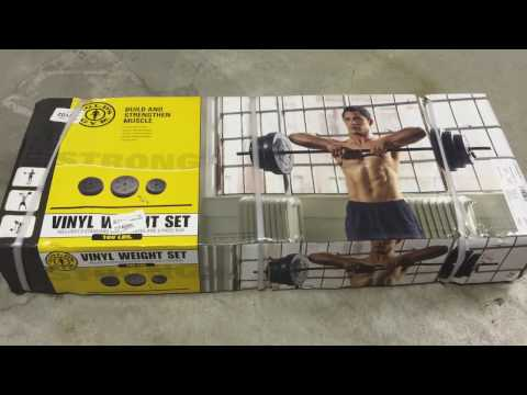 Gold's Gym Vinyl Weight Set, 100 lbs (unboxing and setup)