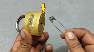 Easy Way To Open Lock With Safety Pin | Easy Life Hack | Teaching 24