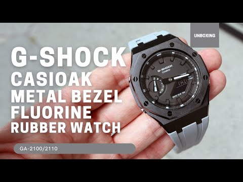 CasiOak GA2100 Black Metal Bezel Fluorine Grey Rubber Watch Strap Length for Casio G-Shock GA-2100/2110
