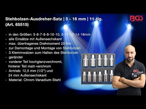 Tutorial: Stehbolzen-Ausdreher-Satz   5 - 16 mm   11-tlg. (BGS 65515)