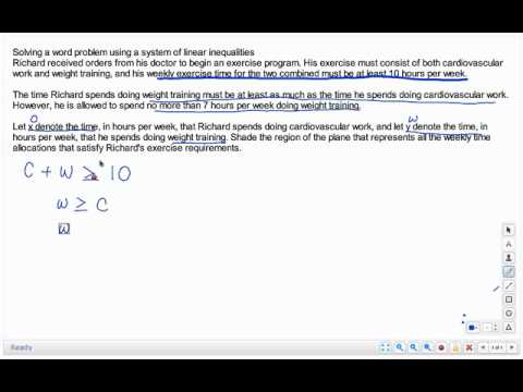 Video Solving A Word Problem Using System Of Linear Inequalities