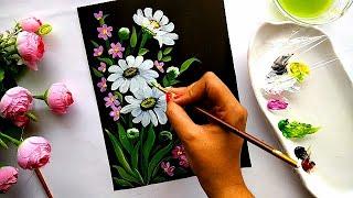 Easy Flower Painting Tutorial | Beginner Flower Painting | Acrylic Painting