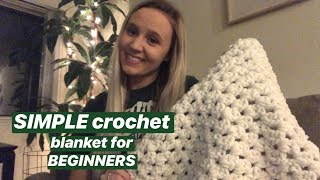 SIMPLE Double Crochet Blanket For Beginners!