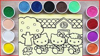 Đồ chơi tô màu tranh cát mèo Hello Kitty đi học với bạn - Sand painting kitty toys (Chim Xinh)
