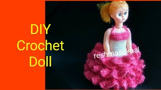 DIY Crochet Doll Dress/ Rukhwat Doll