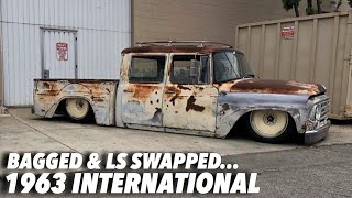 "Bagged 1963 International Harvester  Sitting On 20"" Detroit Steel Wheels 