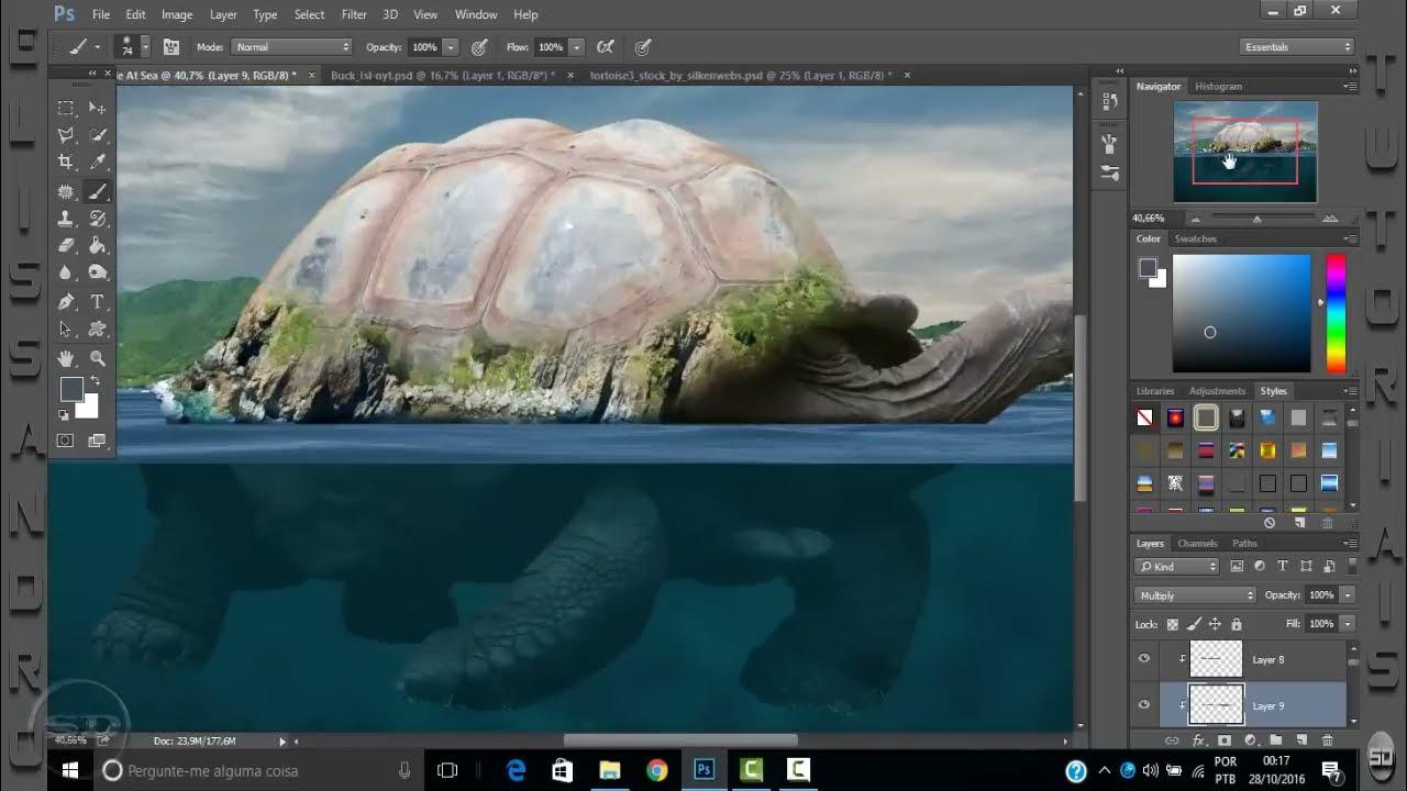 adobe photoshop tutorial underwater turtle island by elissandro pinto