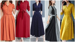 Latest New Arrival Plane Linen Cotton And Wool Fabric Latest Design A Line Skater Dress Collection
