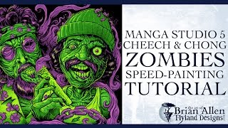 Cheech And Chong Zombies T-Shirt Manga Studio 5 speed painting tutorial
