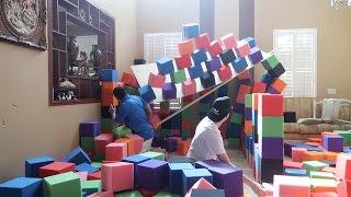 BUILDING A FOAM PIT CASTLE GONE WRONG!! (HE GOT INJURED)