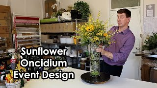 Sunflower And Oncidium Tall Event Design - With Wire Detail -