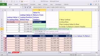 Excel Magic Trick 922: Lookup Row, Then Lookup Value In Row & Return Column Header: Two Way Lookup