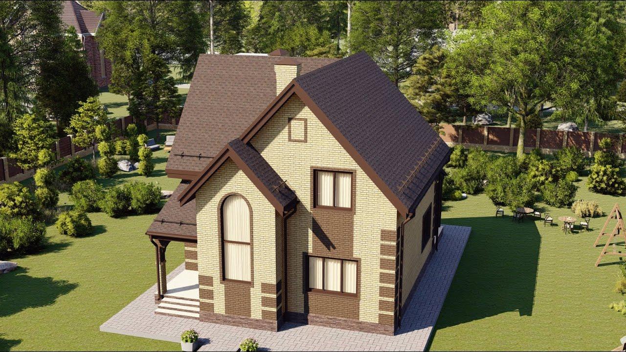 Проект мансардного дома с тремя спальнями 110 кв м