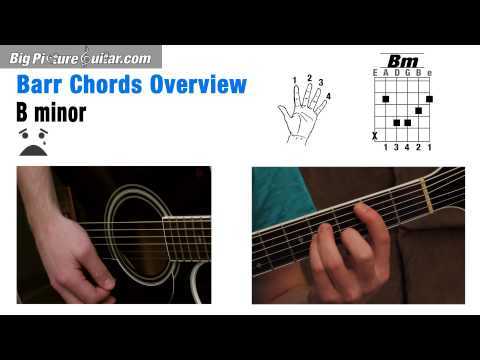 Barre Chords for Guitar an overview: Chords F, Fm, B, Bm