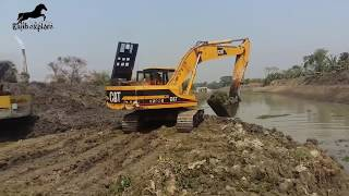 Catching fish by Excavator! Amazing fishing video!
