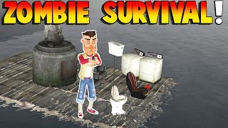 ZOMBIE HORDE SURVIVAL & BOAT BUILDING! | Garry's Mod Gameplay | Gmod Roleplay (Kid Friendly Fun!)