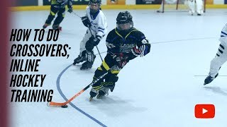 How to do Crossovers;  (Inline Roller Hockey)  2 easy drills