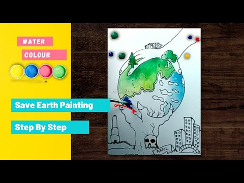 how to draw save earth/save environment poster step by step for beginners