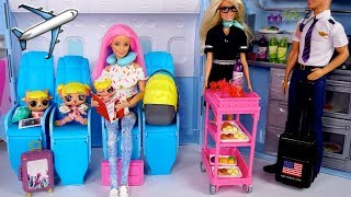Barbie LOL Family  Travel Routine - Baby Goldies First Airplane Ride