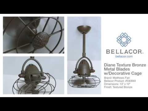 Video for Atlas Fan Diane Textured Bronze Ceiling Fan with Metal Blades