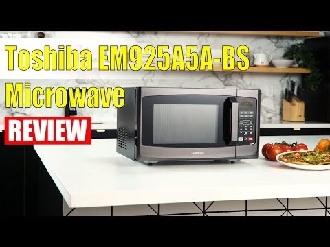 , Toshiba EM925A5A-BS Microwave Oven with Sound On/Off ECO Mode and LED Lighting, 0.9 Cu.ft, Black Stainless