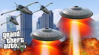 ALIEN UFO INVASION! (GTA 5 Mods)