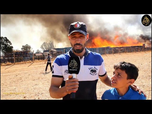 """حريق مهول بشركة """"كوما موسي"""" للخشب بجماعة سيدي موسى بن علي عمالة المحمدية"""