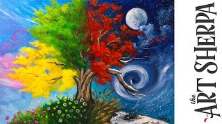 How to paint with Acrylic on Canvas 4 season Tree step by step tutorial | Kholo.pk