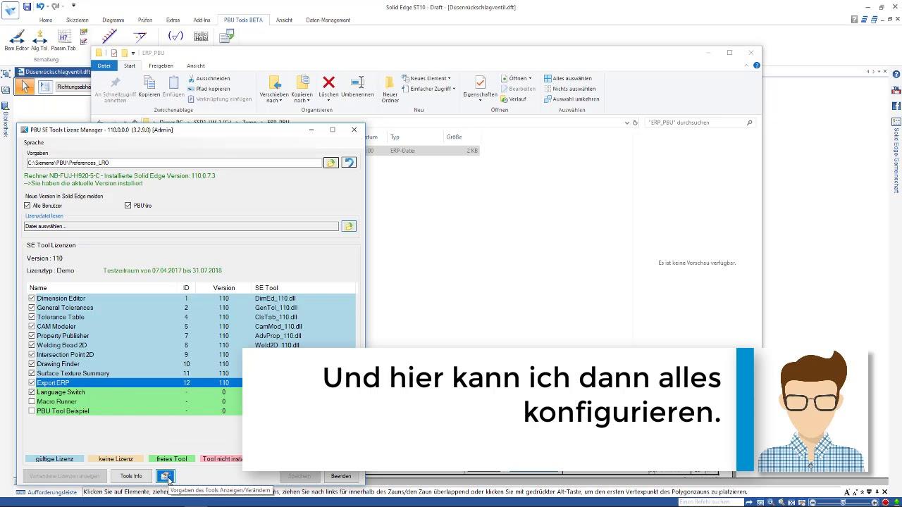 Vorschaubild: PBU-Tool für Solid Edge: Export ERP