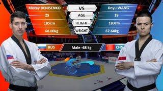 M-68kg  Jinyu Wang (CHN) VS Alexey Denisenko (RUS)   2017-2018 Season WT Grand Slam Finals