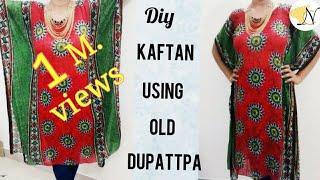 दुपट्टे से काफ्तान सिलने का आसान तरीका(हिंदी में)Kaftan Kurti From Dupatta Recycle/Reuse Old Dupatta