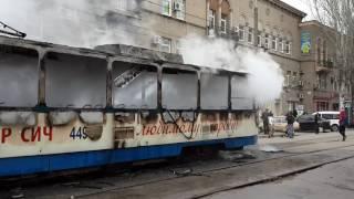В Запорожье сгорел трамвай